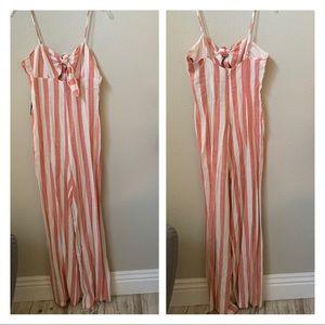 FOREVER 21 pink white stripe linen blend jumpsuit